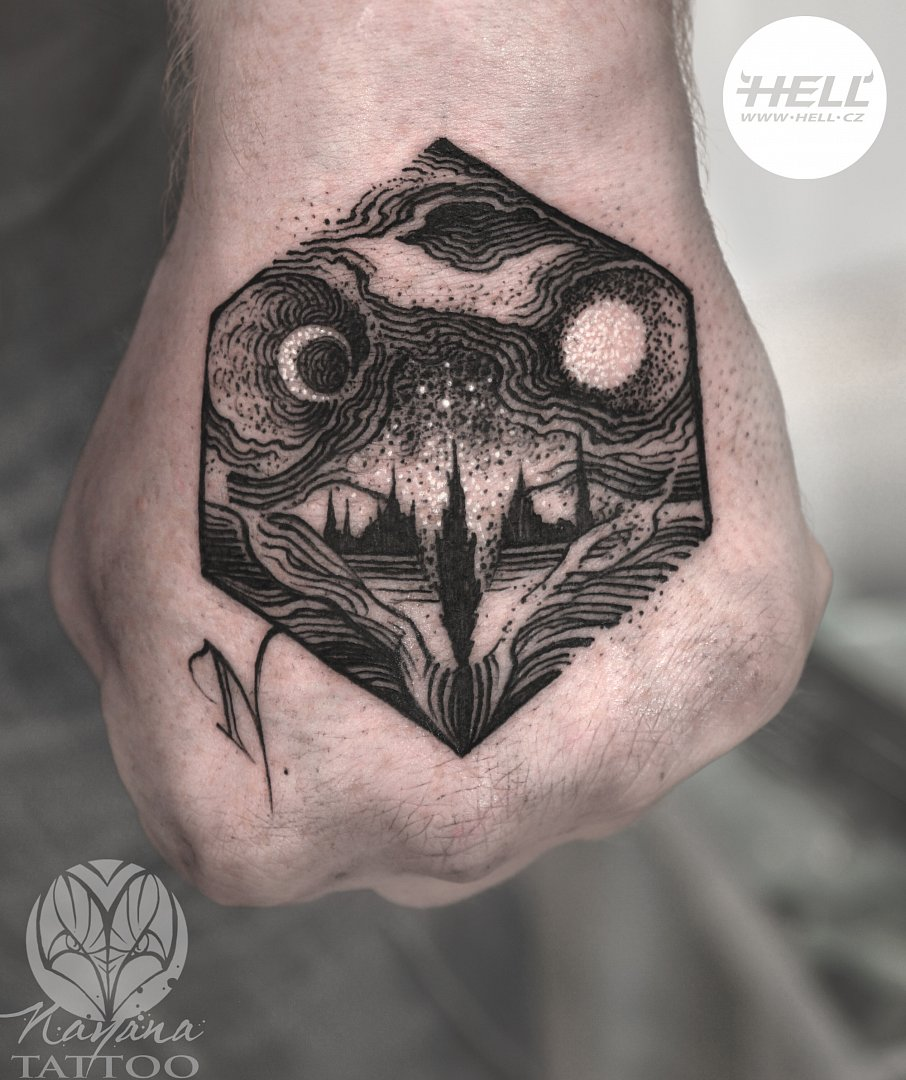 owl-landscape-hexagram-engraving-tattoo